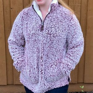 NWT Sherpa Fuzzy Jacket With Pockets Mock Neck